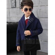 GearBest Shawl Collar Butttoned Woolen Coat