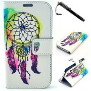 Samsung S4 Case Galaxy S4 Case Colorful Dreamcatcher Pattern Premium PC Leather Wallet Flip Protective Skin Case with Ma