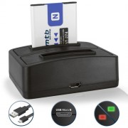 Batterie + Double Chargeur (USB) NP-BN1 pour Sony Cyber-shot DSC-W310, W320, W330, W350, W360, W380, W390, W510, W515PS, W520, W530, W550, W560, W570, W580, W610,W620, W630
