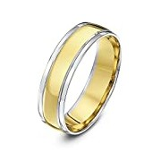 Theia Unisex Court Shape 6 mm 9 ct White and Yellow Gold Wedding Ring - Size U