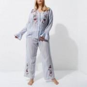 River Island Plus blue stripe embroidered pyjama bottoms