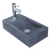Toilet Fontein / Fonteintje Recto Rechthoek Links 40x22x10cm Natuursteen Antraciet