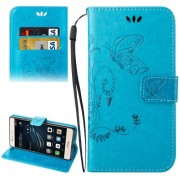 Huawei P9 Lite Crazy Horse Texture Printing Horizontal Flip Leather Case with Holder & Card Slots & Wallet & Lanyard(Blue)