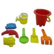 Summer Fun 6 Piece Childrens Kids Mini Toy Beach-Sandbox Tool Play set Comes with Watering Bucket Hand Tools Sand Mol