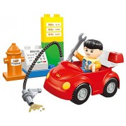 Fun building block toy set of 12pcs - Compatible to Lego Duplo Parts - a sleek car in a gas station filling up gas for the ride building bricks - great educational play set for children 3