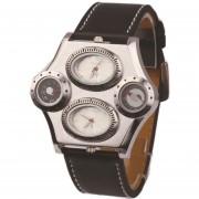 Reloj Hombre Auténtico Brújula Termómetro Dual Movimientos 4-ojos Sport Cuero