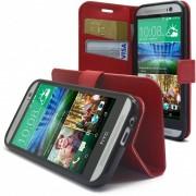 Clubcase Smart Cover HTC One M8 Folio Grain Maroquinerie Rouge