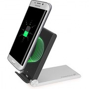 Fosmon 3-Coil 1.0A Output Qi-Enabled [Slim | Compact] Folding Travel Wireless Inductive Charging Dock Station Stand Compatible With Galaxy S7 / S7 Edge Note 5 Nexus 6 / 5 and more