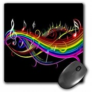 3dRose Rainbow music notes in neon rainbow colors - Mouse Pad 8 by 8 inches (mp_167166_1)