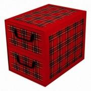 MISS SPACE Pudełko kartonowe 2 szuflady pionowe SZKOCKA KRATA-BORDO