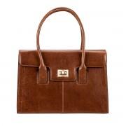 Damen Leder Aktentasche in Braun - Dokumententasche, Aktenkoffer, Businesstasche, Laptoptasche