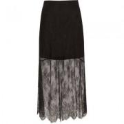 River Island Womens Black layered lace maxi skirt