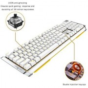 Mechanical Gaming Keyboard James Donkey 104 Key Anti - Gosting USB Wired keyboard with Backlight Aluminum frame for Computer PC Windows Lenovo Deskptop Laptop Tablet MacBook Gamer and More - White