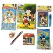 Big FUN Mickey School Set - Mickey Coloring Book, Crayons, Pencils, Pencil Sharpener, Notebook, Pen, & Stickers!