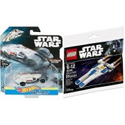 Hot Wheels Star Wars Millennium Falcon Starship & Lego U-Wing Fighter Buildable bundle