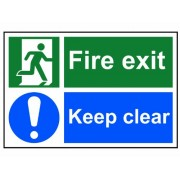 """Scan 1540 - Segnale """"Fire Exit Keep Clear"""" in PVC, 300 x 200 mm"""