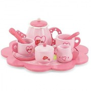 18-inch Doll Food Accessories | 10-Piece Tea Set - Hand-painted Wood Pieces | Fits American Girl Dolls