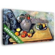 Paul Cézanne: Csendélet korsóval és gyümölcsökkel az asztalon (45x25 cm, Vászonkép )