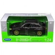 New 1:24 W/B WELLY COLLECTION - BLACK 2005 SUBARU IMPREZA WRX STI Diecast Model Car By Welly
