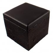 Bőrhatású ülőkés tároló, fekete