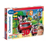 Clementoni 20605 - Puzzle Mickey Mouse Club House, 3D Vision, 104 Pezzi, Multicolore