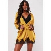 Missguided Gold Satin Lace Insert Robe, Gold