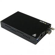StarTech.com ET91000SM10 - Conversor de medios de Ethernet Gigabit (cobre a fibra, LC - 10 km) color negro