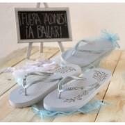 Chancleta flip-flop blancas brillantes con bolsa Talla L