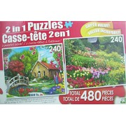 LPF 480 Piece 2-in-1 Puzzle ~ Serenity Church & Tulips at LIttle Larford Stourport-on-Severn, England (2 x 240pc Puzzles - Mixed in 1 Box)