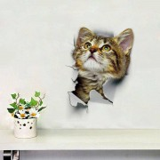 rosegal Cat Animal 3D Removable Bathroom Wall Sticker