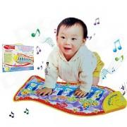 Pour enfants en forme de poisson Blanket Mat Ramper éducation Toy Musique - Jaune + multicolore