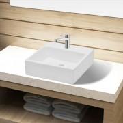 vidaXL Керамична квадратна мивка за баня с корито и отвор смесител, бяла