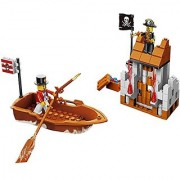 Pirates ruling the stormy sea building blocks 146pcs play set includes a thrown watch tower pirate treasure boat with