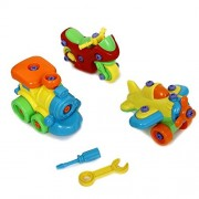 Dazzling Toys Construct a Vehicle Set Including 3 Vehicles - Airplane, motorcycle, Train and Tools.