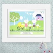 Bunny Rabbit Family Personalised Print