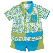 Stephan Baby Go Fish Fishie Print Bowling Shirt and Diaper Cover 3-6 Months