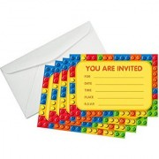 Building Blocks Birthday Party Invitations (8 Pcs) & (8) White Paper Envelopes - The Invite Cards Every Kid Will Love! Brick Shapes Mini Figure Theme Party Pack