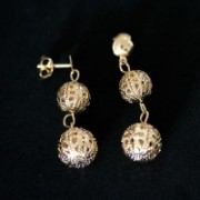 Earring Gold Plated Jewelry Semi Lace Ball lacy