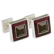 Mousie Bean Crystal Cufflinks Square Polo 003 Asprey Purple/Siam