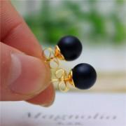 Cercei perle negre placati cu aur