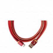 Червен ръчно изработен USB кабел PlusUs LifeStar с Lightning накрайник (25 см)