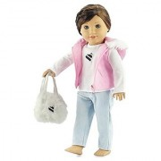 18 Inch Doll Clothes Pink Puffy Jacket Outfit Clothing Fits American Girl Dolls Includes Tee Skinny Jeans & Purse