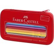 Creioane colorate, in penar metalic, 16 culori/set, FABER CASTELL Grip