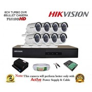 Hikvision DS-7208HGHI-F1 720P (1MP) 8CH Turbo HD DVR 1Pcs + Hikvision DS-2CE16COT-IR Bullet Camera 8Pcs + 1TB HDD + Active Copper Cable + Active Power Supply Full Combo Kit.
