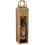 Jutová taška na 1 víno s okénkem