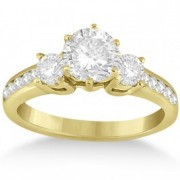 Three-Stone Diamond Engagement Ring with Sidestones in 14k Yellow Gold (0.45 ctw)