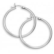"14K White Gold Hoop Earrings, 1 3/8"" (2mm thickness)"