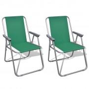 vidaXL Сгъваеми столове за къмпинг, зелени – 2 бр.