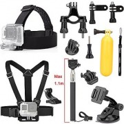 Luxebell 9-in-1 Basic Common Accessories for Gopro Hero 4 Session Black Silver Hero+ Lcd 3+ 3 2 Camera and Sjcam Sj4000 Sj5000 - Chest Harness Mount / Head Strap / Floating Grip/ Suction Cup