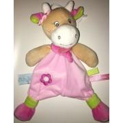Doudou Vache Rose Coquillette Baby Nat Fleur Marguerite Super Craquante Peluche Bebe Naissance Soft Toy Plush Comforter Pink Cow